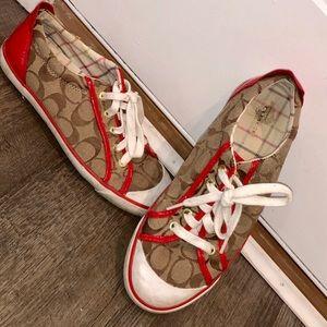Red & Tan Coach Sneakers ❤️